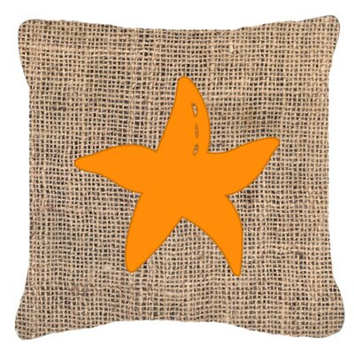 Starfish Burlap Indoor/Outdoor Throw Pillow Size: 18 H x 18 W x 5.5 D, Color: Orange