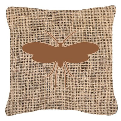 Moth Burlap Indoor/Outdoor Throw Pillow Size: 14 H x 14 W x 4 D, Color: Brown