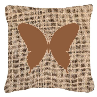 Elegant Butterfly Burlap Fade Resistant Indoor/Outdoor Throw Pillow Size: 18 H x 18 W x 5.5 D, Color: Brown