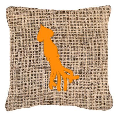 Squid Burlap Indoor/Outdoor Throw Pillow Size: 14 H x 14 W x 4 D, Color: Orange