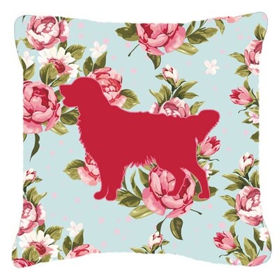 Golden Retriever Shabby Elegance Blue Roses Indoor/Outdoor Throw Pillow Size: 14 H x 14 W x 4 D
