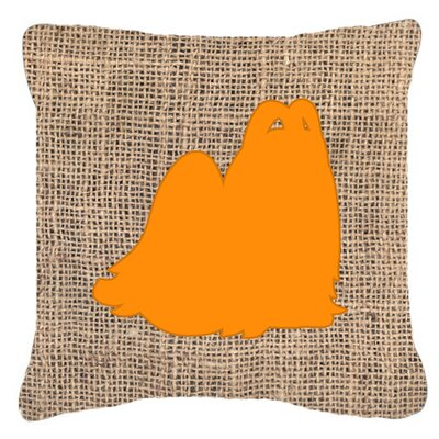 Maltese Burlap Indoor/Outdoor Throw Pillow Size: 18 H x 18 W x 5.5 D, Color: Orange