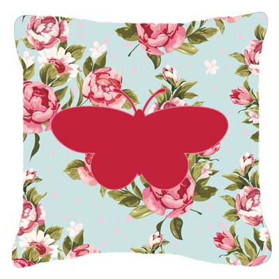 Square Butterfly Shabby Elegance Blue/Red Roses Indoor/Outdoor Throw Pillow Size: 14 H x 14 W x 4 D