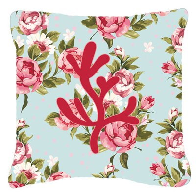 Coral Shabby Elegance Blue Roses Indoor/Outdoor Throw Pillow BB1103-RS-BU-PW1818