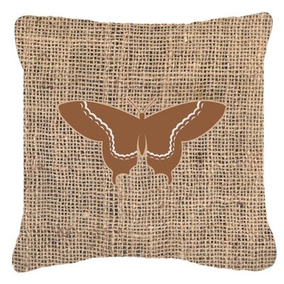 Elegant Butterfly Graphic Print Burlap Indoor/Outdoor Throw Pillow Size: 14 H x 14 W x 4 D, Color: Brown