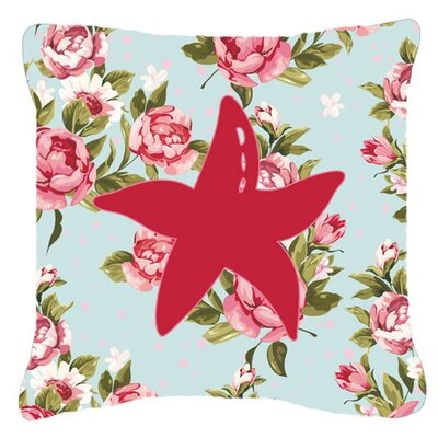 Starfish Shabby Elegance Blue Roses Indoor/Outdoor Throw Pillow Size: 18 H x 18 W x 5.5 D
