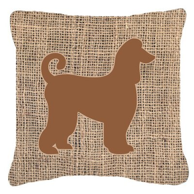 Afghan Hound Burlap Indoor/Outdoor Throw Pillow Size: 14 H x 14 W x 4 D, Color: Brown