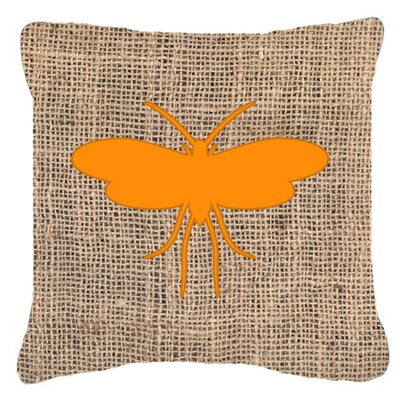 Moth Burlap Indoor/Outdoor Throw Pillow Size: 14 H x 14 W x 4 D, Color: Orange