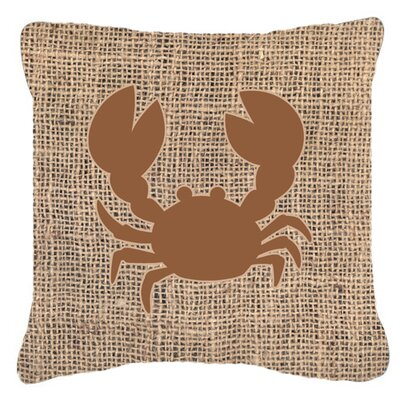 Crab Burlap Indoor/Outdoor Throw Pillow Size: 14 H x 14 W x 4 D, Color: Brown