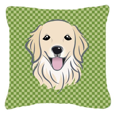 Checkered Golden Retriever Indoor/Outdoor Throw Pillow Size: 14 H x 14 W x 4 D