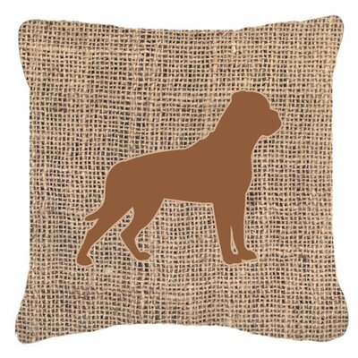 Rottweiler Burlap Indoor/Outdoor Throw Pillow Size: 14 H x 14 W x 4 D, Color: Brown