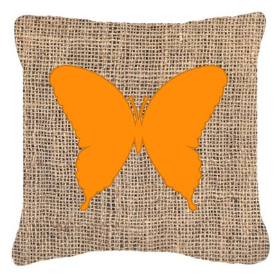 Elegant Butterfly Burlap Fade Resistant Indoor/Outdoor Throw Pillow Size: 18 H x 18 W x 5.5 D, Color: Orange