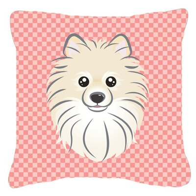 Checkerboard Pomeranian Indoor/Outdoor Throw Pillow Color: Pink, Size: 14 H x 14 W x 4 D