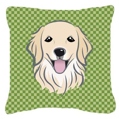 Checkered Golden Retriever Indoor/Outdoor Throw Pillow Size: 18 H x 18 W x 5.5 D