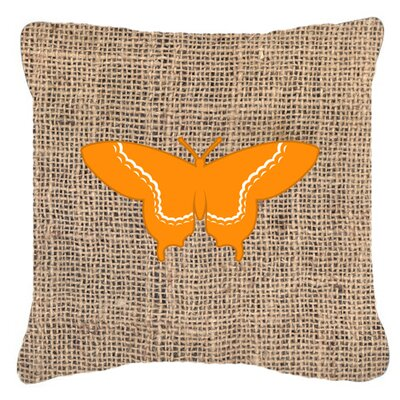 Elegant Butterfly Graphic Print Burlap Indoor/Outdoor Throw Pillow Size: 14 H x 14 W x 4 D, Color: Orange