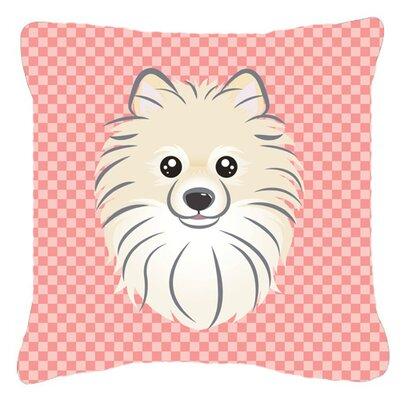 Checkerboard Pomeranian Indoor/Outdoor Throw Pillow Color: Pink, Size: 18 H x 18 W x 5.5 D