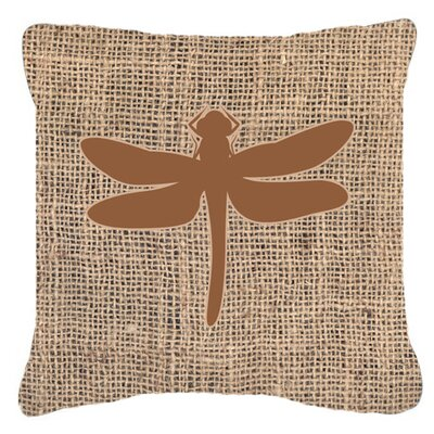 Dragonfly Burlap Indoor/Outdoor Throw Pillow Size: 18 H x 18 W x 5.5 D, Color: Brown