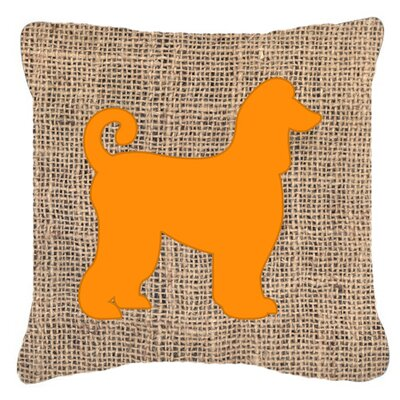 Afghan Hound Burlap Indoor/Outdoor Throw Pillow Color: Orange, Size: 14 H x 14 W x 4 D