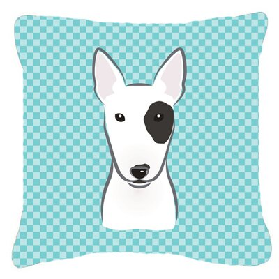 Checkerboard Bull Terrier Indoor/Outdoor Throw Pillow Color: Blue, Size: 14 H x 14 W x 4 D