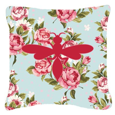 Wasp Shabby Elegance Blue Roses Indoor/Outdoor Throw Pillow Size: 18 H x 18 W x 5.5 D