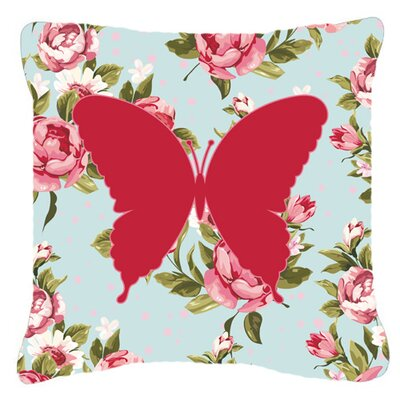 Butterfly Contemporary Shabby Elegance Blue Roses Indoor/Outdoor Throw Pillow Size: 18 H x 18 W x 5.5 D
