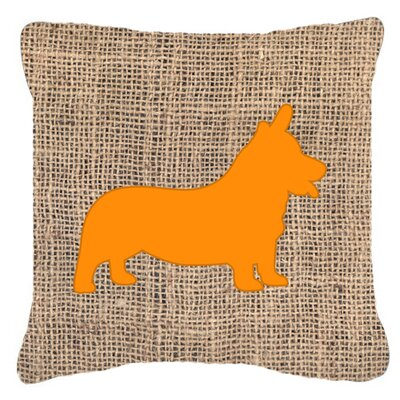 Corgi Burlap Indoor/Outdoor Throw Pillow Size: 14 H x 14 W x 4 D, Color: Orange