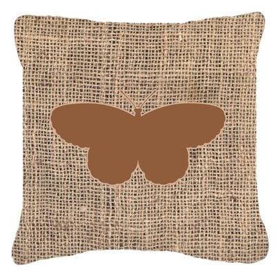 Elegant Butterfly Burlap Mildew Resistant Indoor/Outdoor Throw Pillow Size: 18 H x 18 W x 5.5 D, Color: Brown