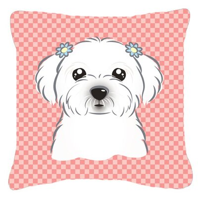 Checkerboard Maltese Indoor/Outdoor Throw Pillow Color: Pink, Size: 14 H x 14 W x 4 D