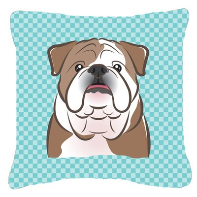 Checkerboard English Bulldog Indoor/Outdoor Throw Pillow Color: Blue, Size: 14 H x 14 W x 4 D