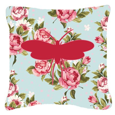 Moth Shabby Elegance Blue Roses Indoor/Outdoor Throw Pillow Size: 18 H x 18 W x 5.5 D