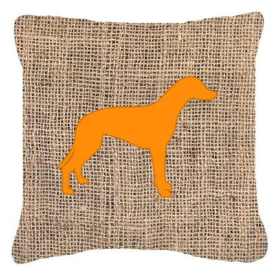 Greyhound Burlap Indoor/Outdoor Throw Pillow Size: 14 H x 14 W x 4 D, Color: Orange