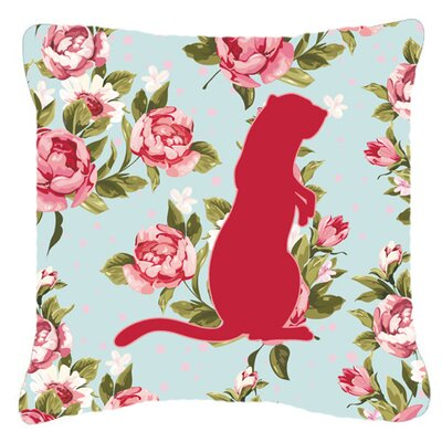 Meerkat Shabby Elegance Blue Roses Indoor/Outdoor Throw Pillow Size: 14 H x 14 W x 4 D