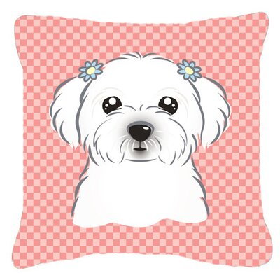Checkerboard Maltese Indoor/Outdoor Throw Pillow Color: Pink, Size: 18 H x 18 W x 5.5 D