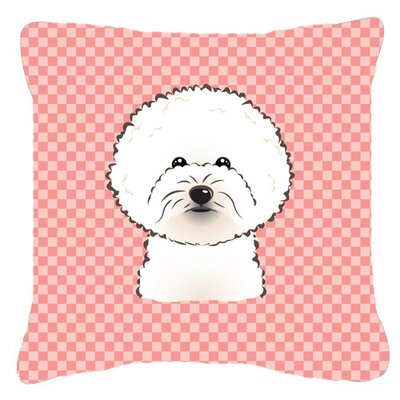 Checkerboard Bichon Frise Indoor/Outdoor Throw Pillow Color: Pink, Size: 18 H x 18 W x 5.5 D