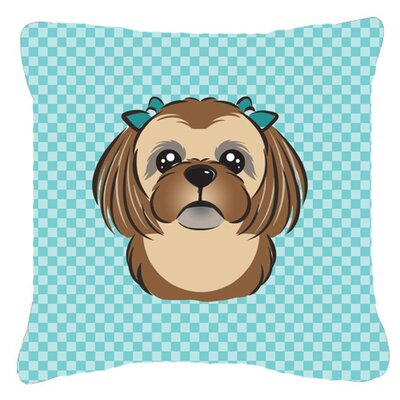 Checkerboard Chocolate Brown Shih Tzu Indoor/Outdoor Throw Pillow Color: Blue, Size: 14 H x 14 W x 4 D