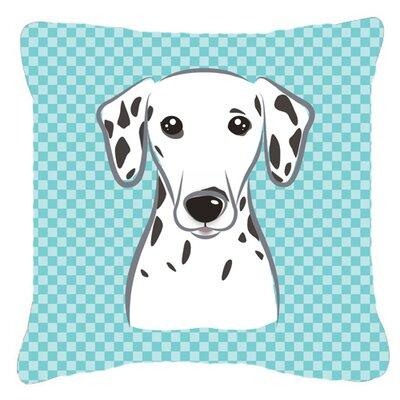 Checkerboard Dalmatian Indoor/Outdoor Throw Pillow Color: Blue, Size: 14 H x 14 W x 4 D