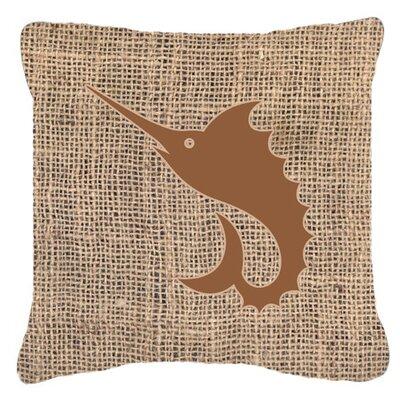 Swordfish Burlap Indoor/Outdoor Throw Pillow Size: 18 H x 18 W x 5.5 D, Color: Brown