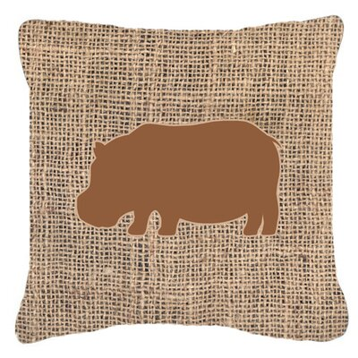 Hippopotamus Burlap Indoor/Outdoor Throw Pillow Size: 14 H x 14 W x 4 D, Color: Brown