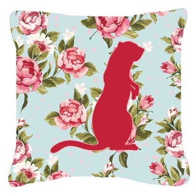 Meerkat Shabby Elegance Blue Roses Indoor/Outdoor Throw Pillow Size: 18 H x 18 W x 5.5 D