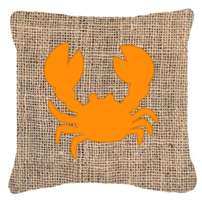 Crab Burlap Indoor/Outdoor Throw Pillow Size: 14 H x 14 W x 4 D, Color: Orange