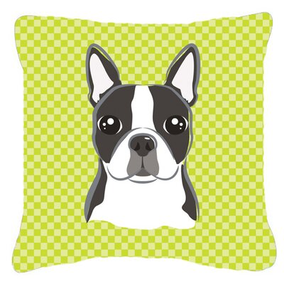 Checkered Boston Terrier Indoor/Outdoor Throw Pillow Size: 14 H x 14 W x 4 D