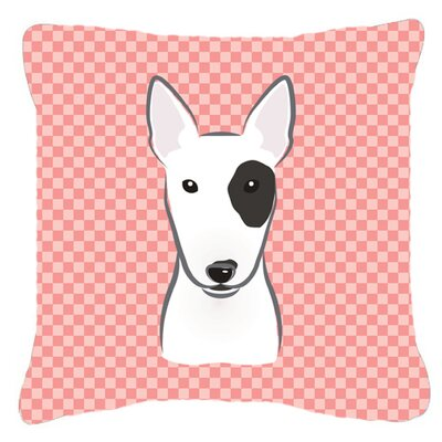 Checkerboard Bull Terrier Indoor/Outdoor Throw Pillow Color: Pink, Size: 14