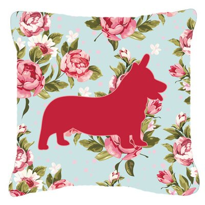 Corgi Shabby Elegance Blue Roses Indoor/Outdoor Throw Pillow Size: 14 H x 14 W x 4 D