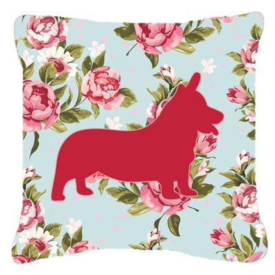 Corgi Shabby Elegance Blue Roses Indoor/Outdoor Throw Pillow BB1069-RS-BU-PW1414
