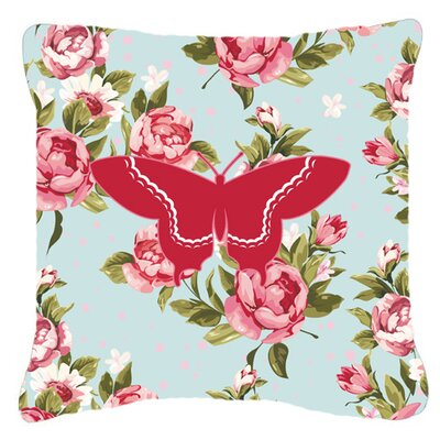 Butterfly Shabby Elegance Blue/Red Roses Indoor/Outdoor Throw Pillow Size: 18 H x 18 W x 5.5 D