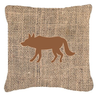 Wolf Burlap Indoor/Outdoor Throw Pillow Size: 14 H x 14 W x 4 D, Color: Brown