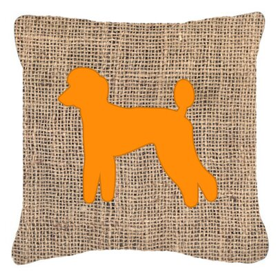 Poodle Burlap Square Indoor/Outdoor Throw Pillow Size: 14 H x 14 W x 4 D, Color: Orange