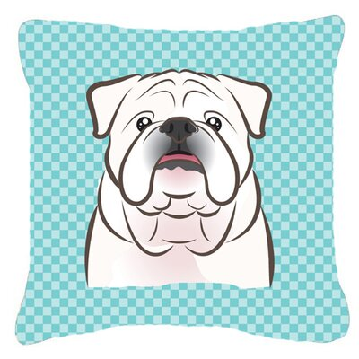 Checkerboard White English Bulldog Indoor/Outdoor Throw Pillow Color: Blue, Size: 14 H x 14 W x 4 D