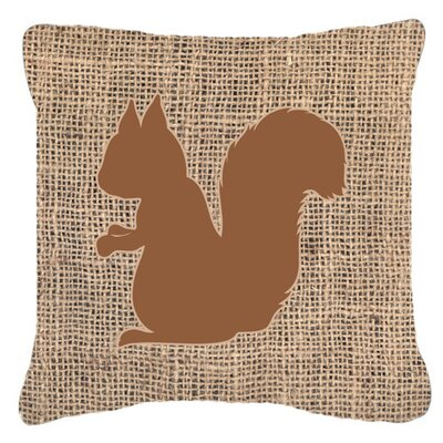Squirrel Burlap Indoor/Outdoor Throw Pillow Size: 14 H x 14 W x 4 D, Color: Brown