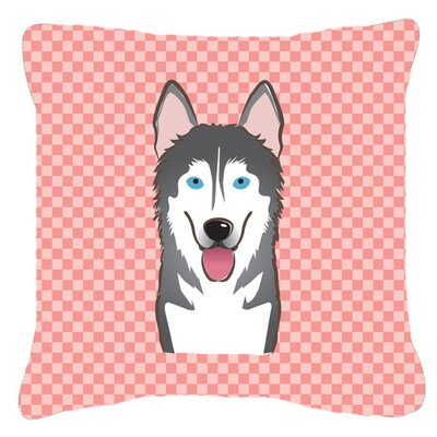 Checkerboard Alaskan Malamute Indoor/Outdoor Throw Pillow Size: 14 H x 14 W x 4 D, Color: Pink